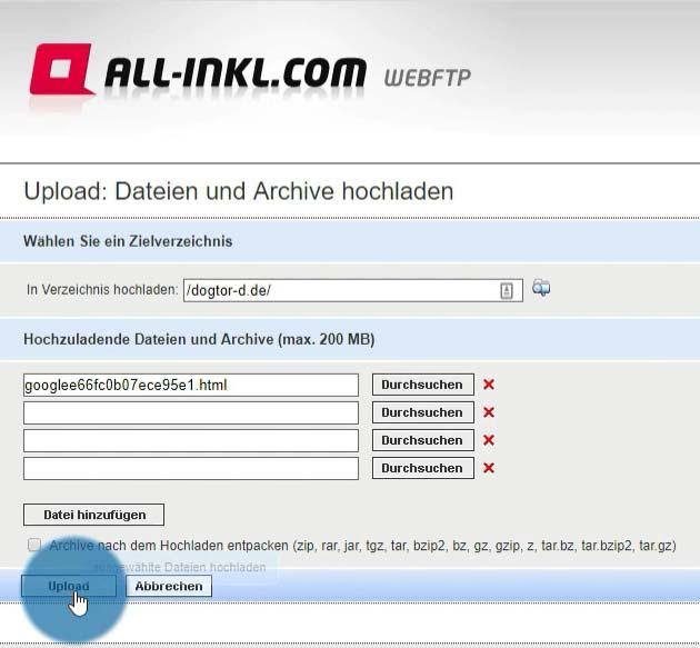 Upload der HTML-Datei auf eigene Website
